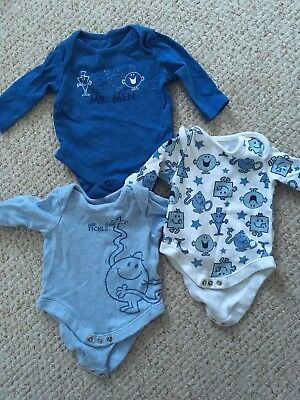 F & F Tesco Baby Brand new up to one month Vests Mr Men