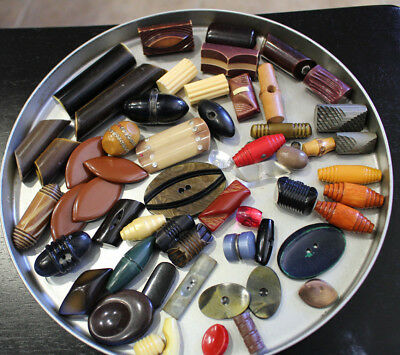 Lot of 57 Vintage Bakelite Celluloid and Wood Toggle  Buttons