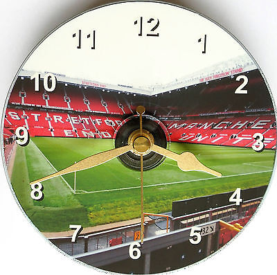 Old Trafford stadium on the clock face of a standard 12cm cd disc