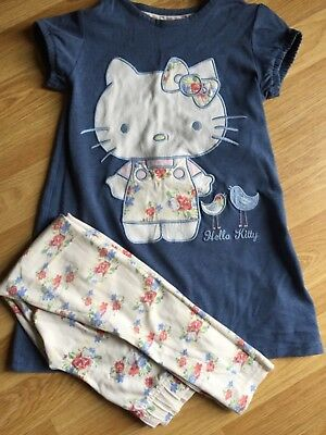 Marks and Spencer hello kitty top and leggings girls age 6-7 blue and floral