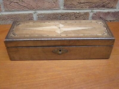 Old Inlaid Wooden Box With Lock No Key