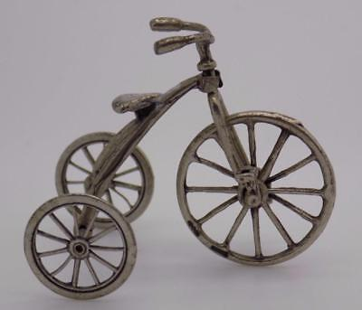 Vintage Solid Silver Italian Made Tricycle Miniature, Figurine, Stamped, Large