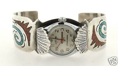 Signed Old Pawn Navajo Sterling Silver Turquoise Coral Cuff Watch Bracelet - SL