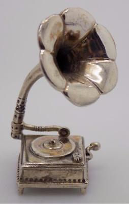 Vintage Sterling Silver 925 Signed Gramophone Miniature, Figurine, Made in Italy