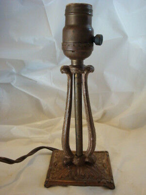 Early Antique Vintage Fancy Cast Iron Table Budoir Dresser Lamp Greco-Roman