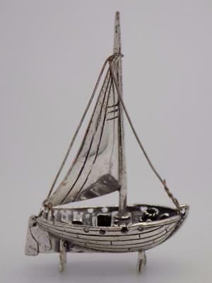 Vintage Solid Silver Sailing Ship Miniature, Figurine, Dollhouse, Stamped