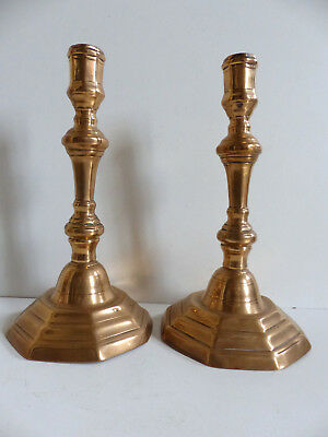 SUPERB & RARE PAIR of ANTIQUE 18th. Century FRENCH COPPER CANDLESTICKS c1750's