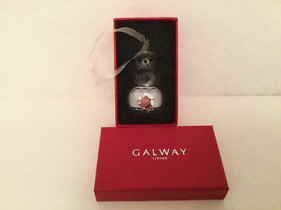 Galway Crystal Christmas Snowman Hanging  XmasTree Ornament Decoration Bauble