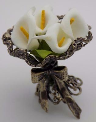 Vintage Solid Silver & Fabric Flower Bouquet Miniature, Figurine, Stamped