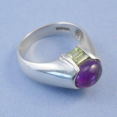 Chateau d'Argent 925 silver ring, amethyst cabochon green stones, size O, 6.4g