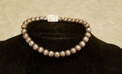 "Sterling Silver MEXICO Beaded 7.5"" L Bracelet 18.9 Grams"