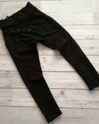 Girls Black Baggy Trousers Buttons Sweatpants sizes: 5, 6, 7, 8, 9 yr