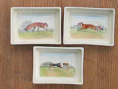 3 Vintage Royal Doulton Small Trinket Dishes Fox Foxes And Fox Hound Dog Hunting