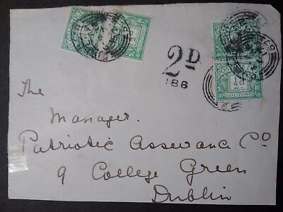 Ireland Stamps part cover postage due with Dublin stamps 1/2p stamps