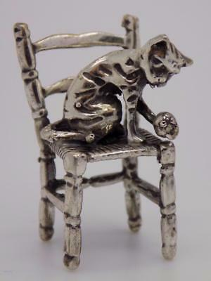 Vintage Solid Silver Italian Handmade Cat on a Chair Miniature, Figurine, Stamp