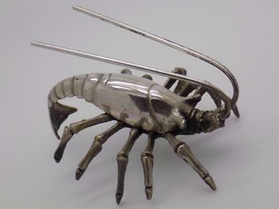 Vintage Solid Silver Italian Made REAL LIFE SIZE Prawn, Stamped, Figurine