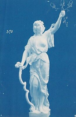Early Cyanotype Unusual 1870 Statue of a Girl Embellished Drawn Cliche Negative