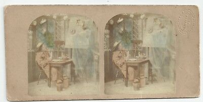 Stereoview Genre The Ghost comes through the Chimney London LSC-Label 1850er