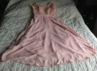Blush Pink Nude Bridesmaid Prom Black Tie Event Dress Sleeves Lace 16 18 Lace Up