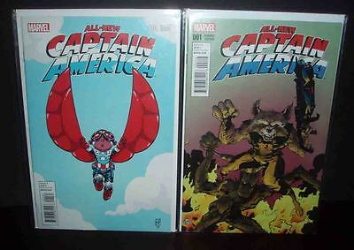 All-New Captain America #1 Vf+/nm Marvel Skottie Young & Rocket Raccoon Variants