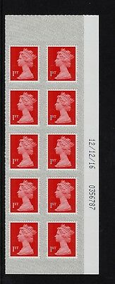 2016 M16L MAIL 1st CLASS DARK RED MACHIN DEFINITIVE SBP2 12/12/16 Date Cyl Block