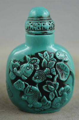 China Collectable Handwork Old Coral Carve Goldfish & Lotus Lucky Snuff Bottle