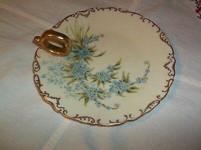 T & V Limoges France Depose Handpainted Nappy Candle Plate