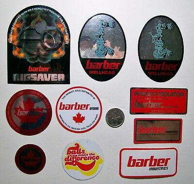 10 Oilfield Hard Hat Stickers / Barber Industries