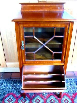Antique Victorian Mahogany Inlaid Music Cabinet Record Storage  Superb !