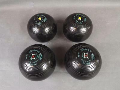 Four Henselite bowls and carry case (0080-MY)