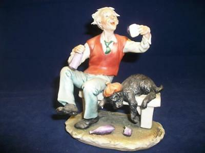 "Capo di Monte-W.Cabrelli Italy- ""Man on bench"" figurine (10219-MY)"