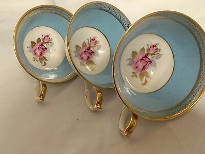 3  Gorgeous Aynsley cups Powder Blue with pink rose and gilding