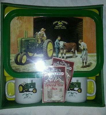 ☆ John Deere 'Model A Tractor' Moline IL Mug Coffee Tea Cups & Tray Set NEW RARE