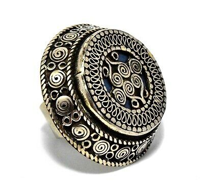 Vintage Afghan Kuchi Ring Tribe Carved Antique Jewelry Turkmen Ethnic Gypsy Boho
