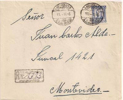 Uruguay 1946 reg cover with 10 C stamp, train station cancel MERINOS/D22