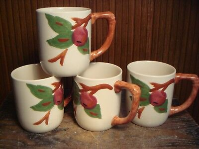 4 Vintage Franciscan Apple Mugs Coffee Cups Pottery 4 and 1/8 Inches 16 Ounces