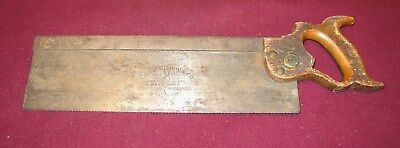 "Geo H. Bishop Hand Made No. 7 Cast Steel Tenon Saw 14"" Back Saw - Unrestored"