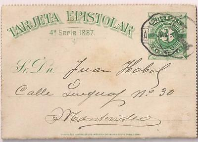 Uruguay 1890 stat lettercard 3 C , used from ? to MONTEVIDEO