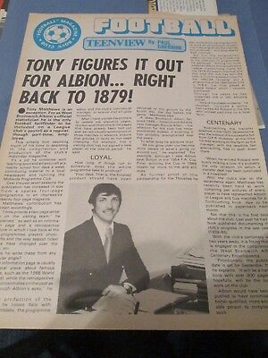 'Tony Figures it out for Albion' West Bromwich Albion WBA West Brom T. Matthews