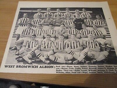 1961/62 West Bromwich Albion WBA West Brom black and white team picture