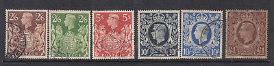 GB KGVI 1939 High values SG476-478c Used Set of 6 Stamps cat £60