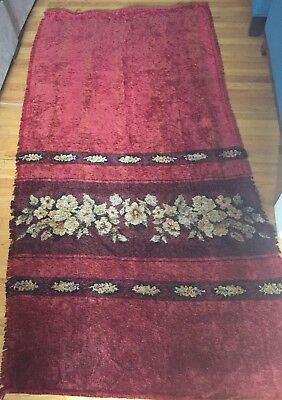 Pair of Antique Chenille Curtains- Spanish Gothic Revival - Red & Floral Fringed