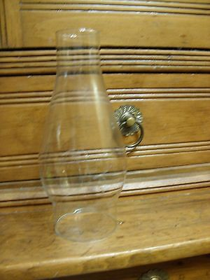 """CLEAR GLASS HURRICANE CHIMNEY LAMP 7 1/2"""" H 2 5/8"""" fitter"""