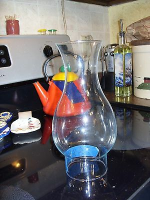 """CLEAR GLASS HURRICANE CHIMNEY LAMP  Flare TOP 8 1/2"""" H 3"""" fitter 2 3/4"""" Top"""