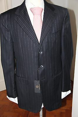 Auth. Gianni Versace Couture Diplomatic Blue Suit Size 52R