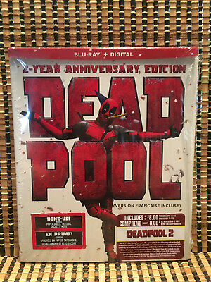Deadpool: 2-Year Anniversary Edition (Blu-ray, 2018)+Paper Doll/Stickers