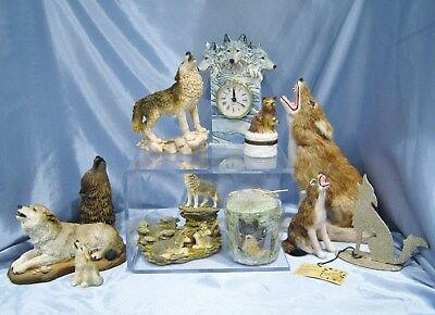 Wild Wolf Collection Tealight-Clock-Trinket Box-Statues-Candle LOT 11 Pieces