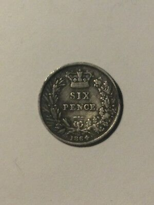 1864 Silver Sixpence 'Young Head' VGC Die 20