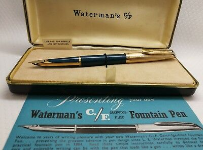 Vintage 1950s Waterman CF Fountain Pen gold nib teal blue with rolled gold Cap