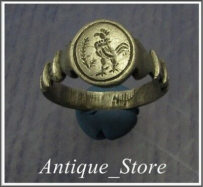 ** ROOSTER ** Ancient Silver Roman Ring ** VERY RARE **